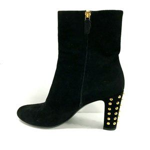 Gucci Black Jacquelyn Suede Gold Studded Heel Boot